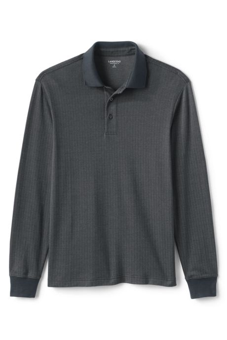 Men's Tall Long Sleeve Supima Knit Jacquard Polo Shirt