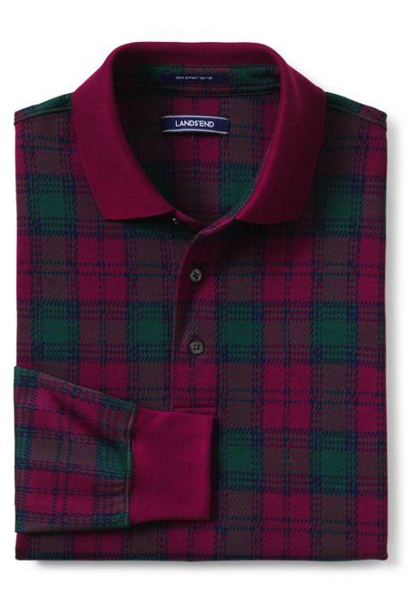 Men's Tall Long Sleeve Supima Knit Jacquard Polo Shirt