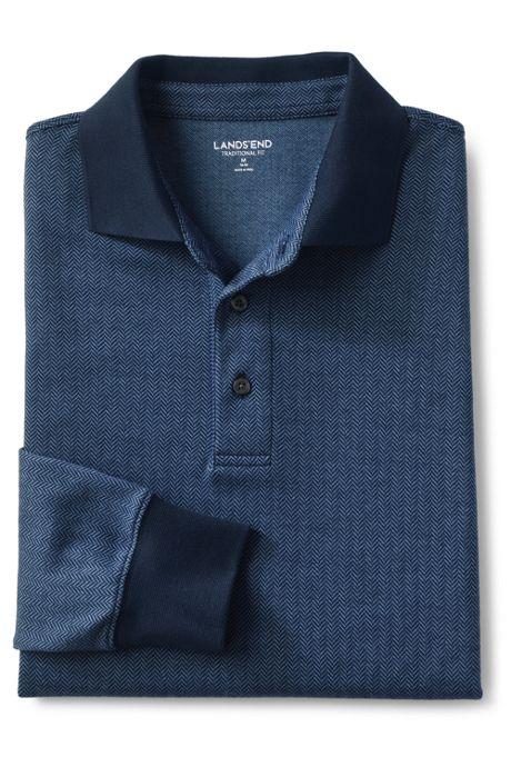 Men's Supima Long Sleeve Jacquard Polo Shirt