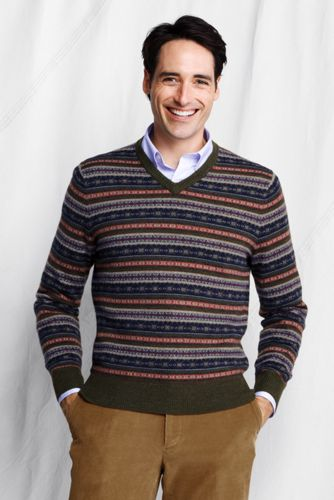 Offerta: Lands' End Men's Regular Merino Fair Isle V-neck Sweater