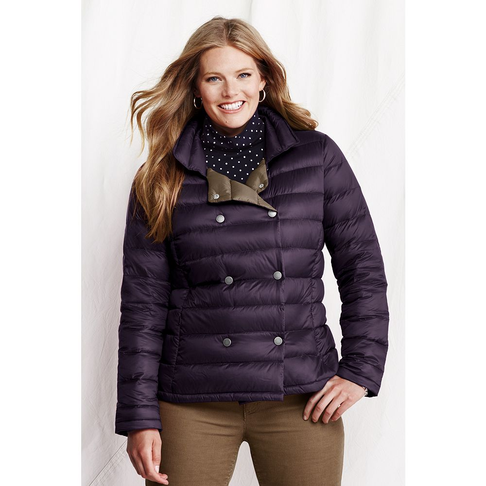 Lands' End Women's Plus Size Lightweight Down Pea Coat at Sears.com