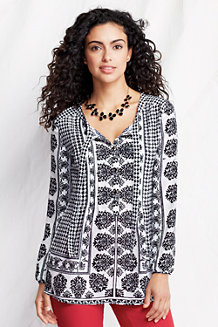Women's Patterned Tie-front Tunic