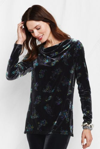Women's Regular Patterned Velvet Drape Neck Tunic