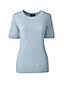 Unifarbener Kaschmir-Pullover mit kurzen Ärmeln und rundem Ausschnitt für Damen