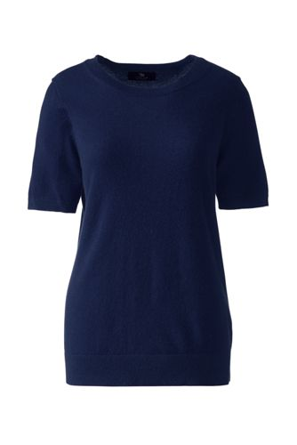 Women's Petite Cashmere Short Sleeve Sweater by Lands' End