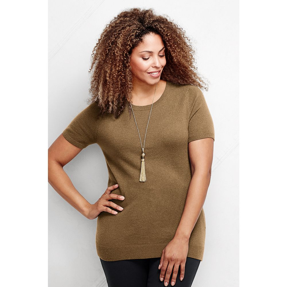 Lands' End Women's Plus Size Classic Cashmere Short Sleeve Sweater at Sears.com