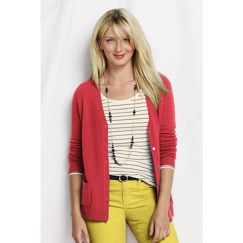Lands' End Women's Petite Long Sleeve Year Round Cashmere V-neck Cardigan at Sears.com