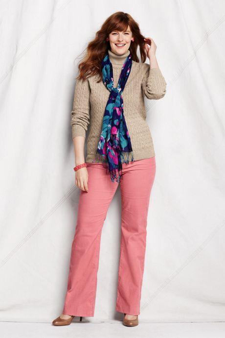 Women's Plus Size Cotton Cable Turtleneck Sweater