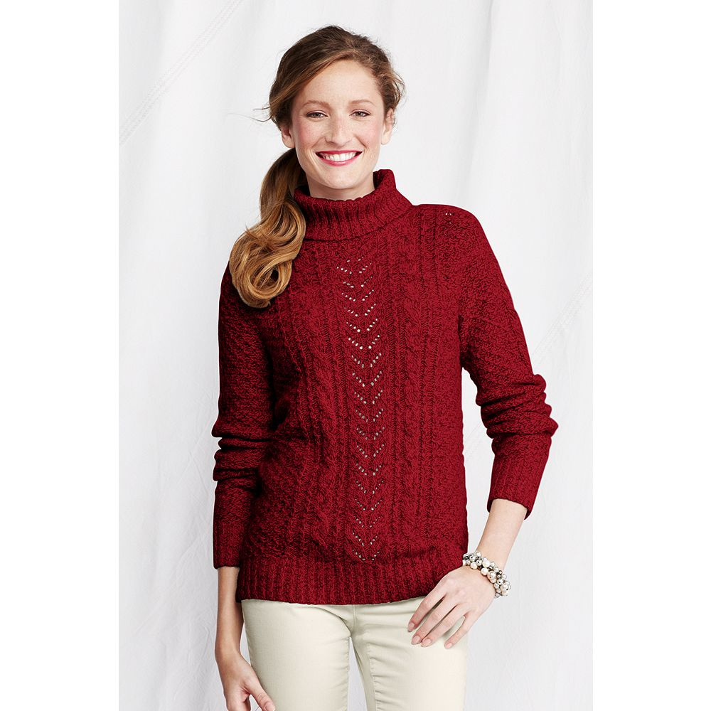 Lands' End Women's Petite Vintage Blend Mix Cable Turtleneck at Sears.com