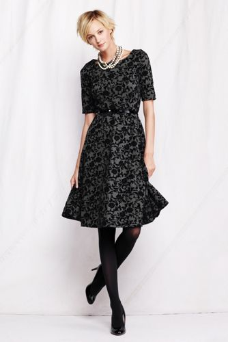 Women's Regular Ponté Boatneck Flock Dress - Charcoal Heather Floral, M