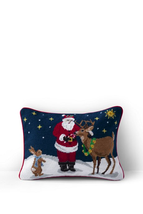 Needlepoint Decorative Christmas Pillow