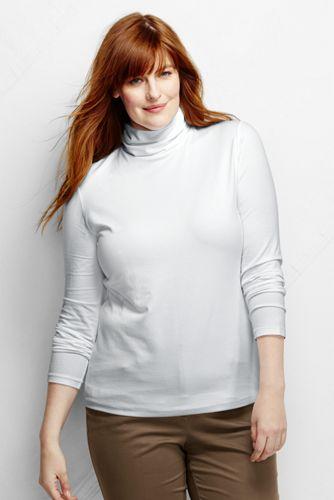 Le Pull Uni en Coton Modal Col Roulé Coupe Ajustée Femme, Grande Taille