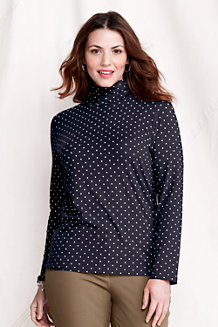 Women's Fitted Cotton/Modal Print Roll Neck