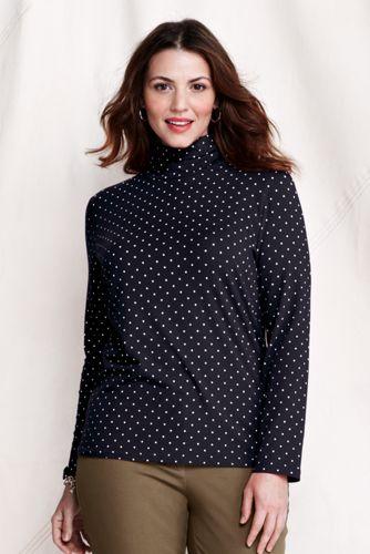 Women's Plus Cotton/Modal Print Roll Neck