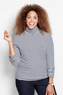 Women's Fitted Cotton/Modal Striped Roll Neck