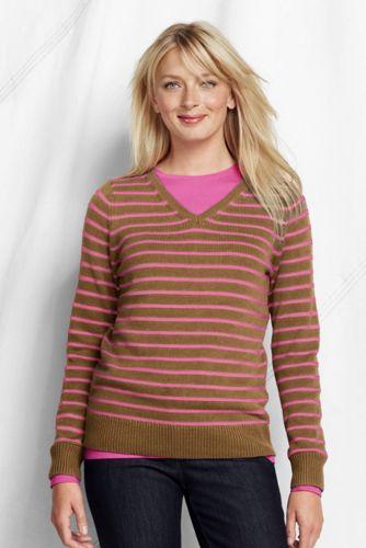Gestreifter V-Pullover im leichten Baumwollmix für Damen