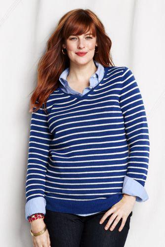 Gestreifter V-Pullover im leichten Baumwollmix für Damen in Plusgröße