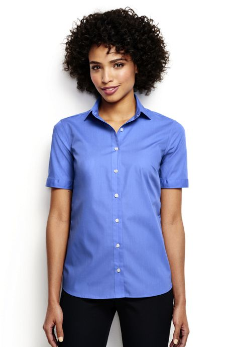 Women's Petite Short Sleeve Broadcloth Shirt