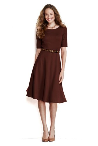 Women's Regular Elbow Sleeve Ponté Boatneck Dress - Cinnamon Bark, S