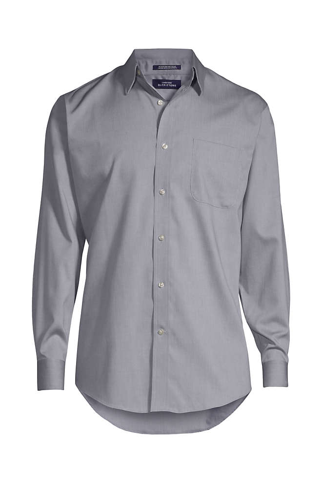 Men's Long Sleeve Straight Collar Solid No Iron Pinpoint, Front