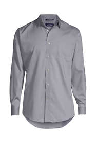 Men's Big Long Sleeve Straight Collar Solid No Iron Pinpoint