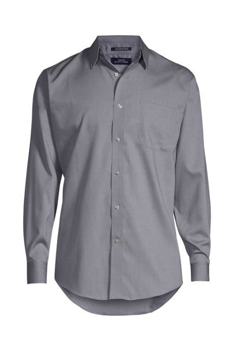 Men's Long Sleeve Straight Collar Solid No Iron Pinpoint Shirt