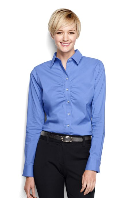 Women's Regular Long Sleeve Ruched Front Stretch Shirt