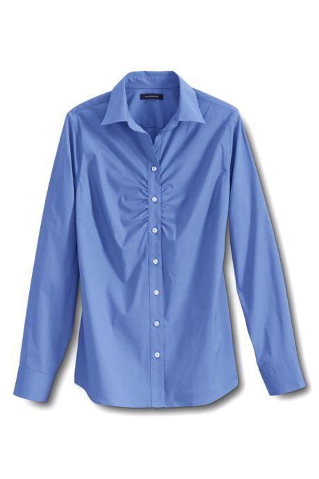 Women's Long Sleeve Stretch Ruched Front Shirt