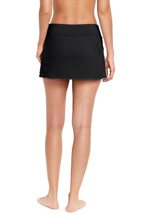Women's Petite Tummy Control Low Rise Sporty Mini Swim Skirt Swim Bottoms