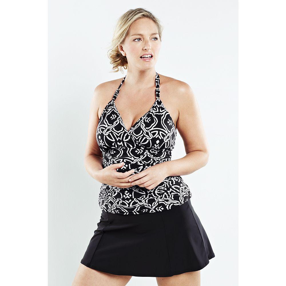 Lands' End Women's Plus Size Shape & Enhance Knot Halter Tankini Top at Sears.com