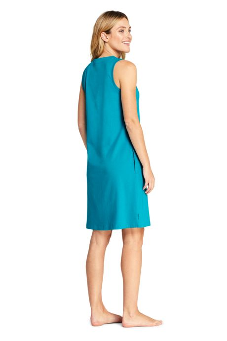 Women's Long Cotton Jersey Sleeveless Tunic Dress Swim Cover-up