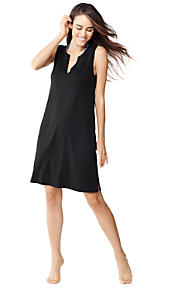 6da9a77289c Women's Cotton Jersey Sleeveless Tunic Dress Swim Cover-up