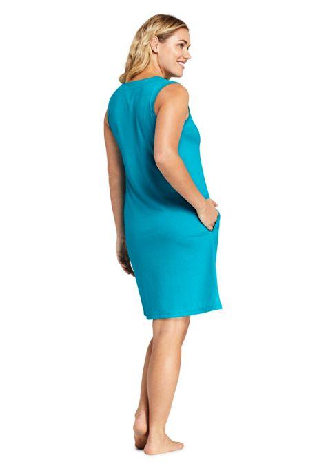 Women's Plus Size Cotton Jersey Sleeveless Tunic Dress Swim Cover-up