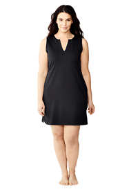 Women's Plus Size Cotton Jersey Sleeveless Swim Cover-up Dress