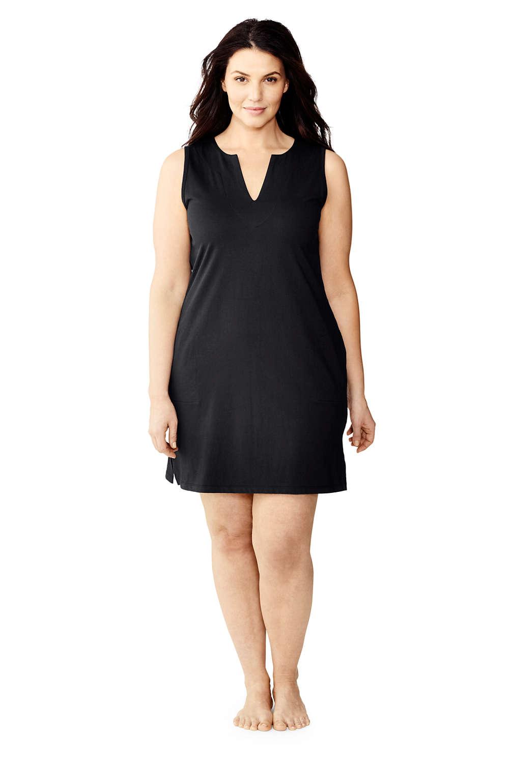 Women\'s Plus Size Cotton Jersey Sleeveless Swim Cover-up Dress