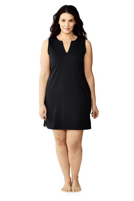 Women's Plus Size Cotton Jersey Sleeveless Tunic Dress Swim Cover-up