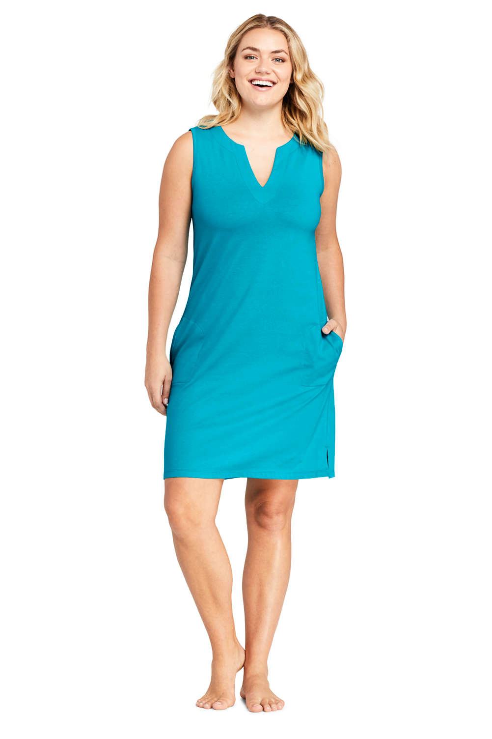 8fd077cd8b9 Women's Plus Size Cotton Jersey Sleeveless Tunic Dress Swim Cover-up from  Lands' End
