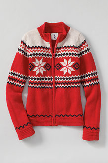 Girls' Zip-front Snowflake Sweater