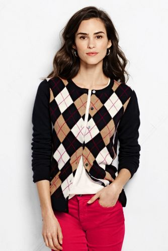 Women's Classic Cashmere Argyle Cardigan Sweater from Lands' End