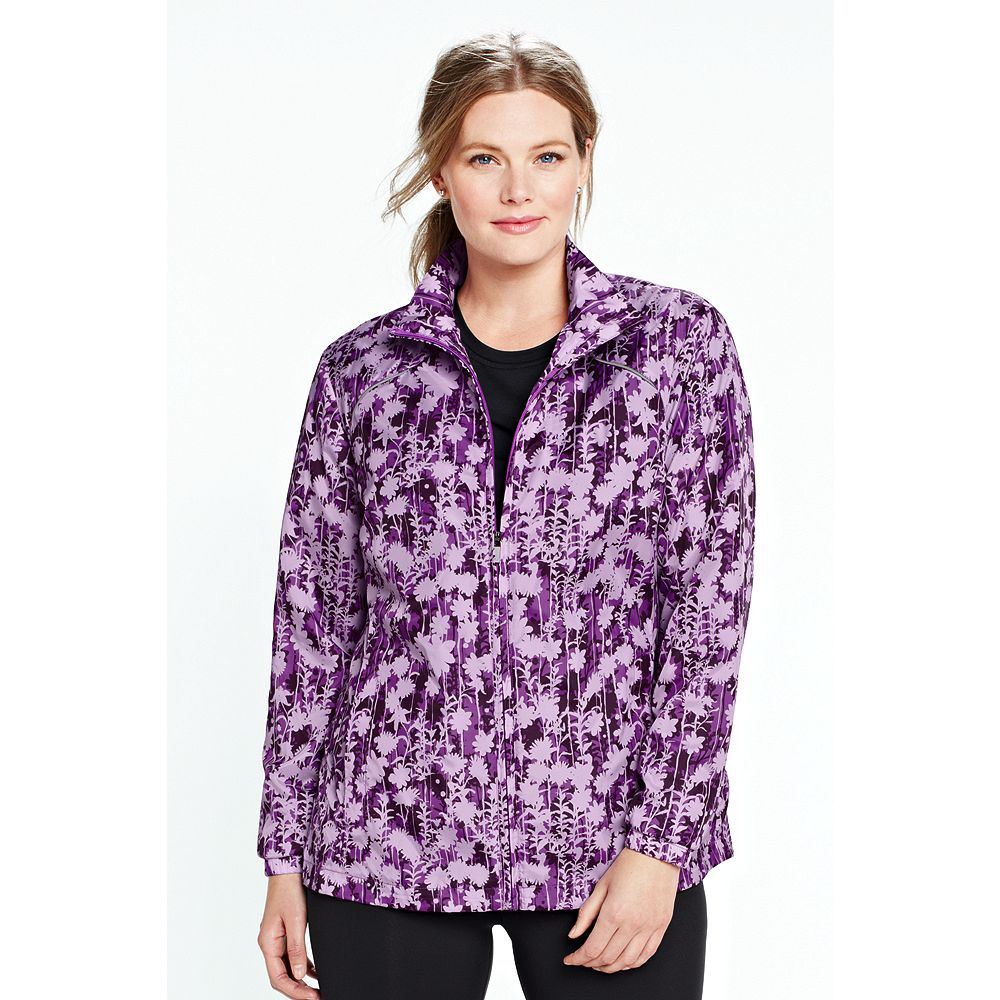 Lands' End Women's Plus Size Print Performance Windbreaker Jacket at Sears.com
