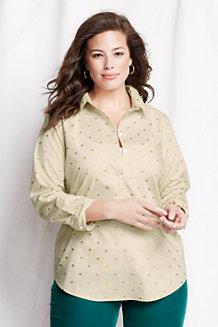 Women's Three-quarter Sleeve Foil Dot Poplin Tunic