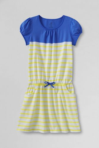 Girls' Short Sleeve Print Drop Waist Jersey Dress