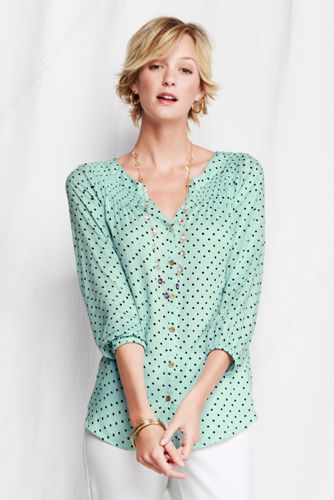 Women's Regular Bracelet Sleeve Smocked Blouse