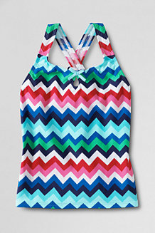 Girls' Shoreside Printed Keyhole Tankini Top