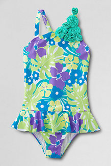 Girls' Coconut Cove Flower Shoulder Skirted Swimsuit