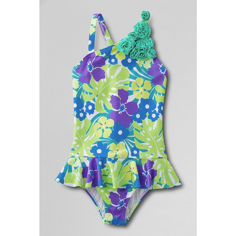 Lands' End Little Girls' Coconut Cove Flower Shoulder Skirted One Piece Swimsuit at Sears.com