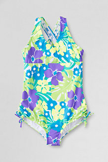 Girls' Coconut Cove Gathered Tie-side Swimsuit