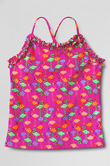 Girls' Saltwater Taffy Ruffle-neck Tankini Top
