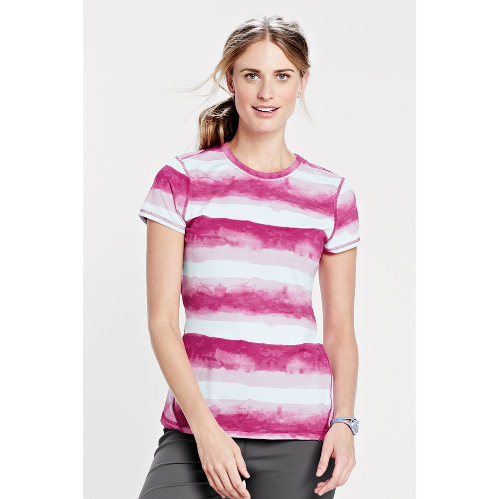 Lands' End Women's Petite Short Sleeve Activewear T-shirt - Print