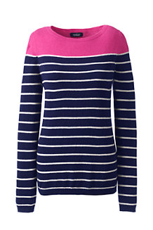 Women's Year Round Cashmere Stripe Ballet Neck Jumper